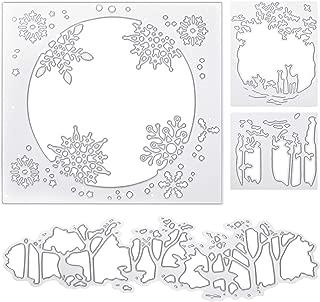 4 Pieces Christmas Cutting Dies Christmas Metal Cutting Stencils Reindeer Snowflake Cutting Embossing Dies for DIY Scrapbook Album Card Decoration