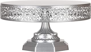 Amalfi Decor 12 Inch Cake Stand, Dessert Cupcake Pastry Candy Display Plate for Wedding Event Birthday Party, Round Metal Pedestal Holder, Silver