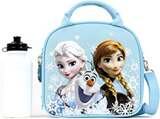 Disney Frozen Lunch Box Carry Bag with Shoulder Strap and Water Bottle (SNOW BLUE) by Horarary