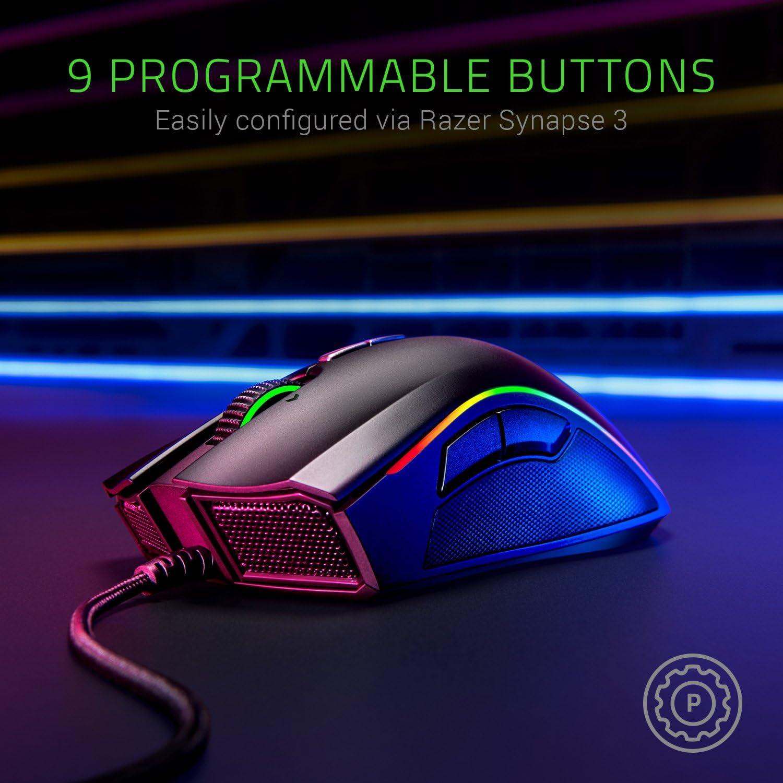 Razer Mamba Elite: 5G True 16,000 DPI Optical Sensor - 9 Programmable Buttons - Ergonomic Form Factory - Powered Razer Chroma - Esports Gaming Mouse