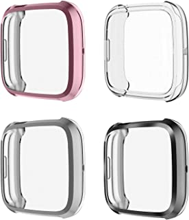 [4-Pack] Fintie Compatible Fitbit Versa 2 Screen Protector Case, Soft TPU Rugged Cover All-Around Protective Bumper Shell for Fitbit Versa 2 Smartwatch, Black, Silver, Rose Pink, Clear
