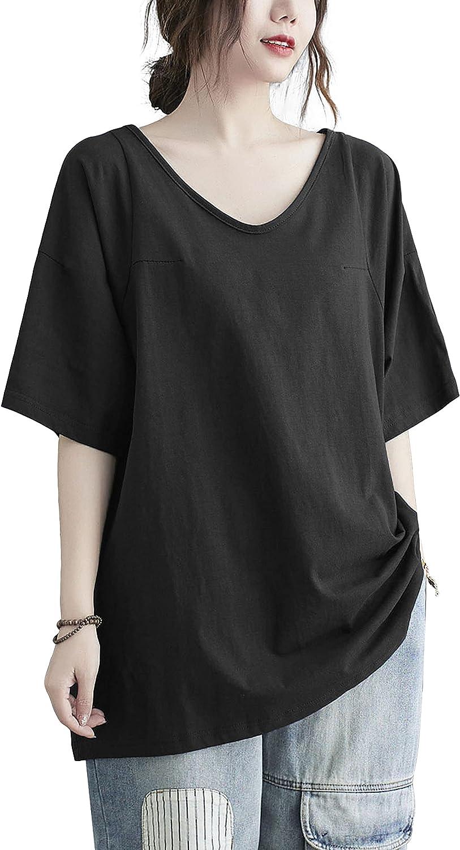 ellazhu Women Short Sleeves Summer Casual Solid Color V-Neck Pullover T-Shirt GA2279