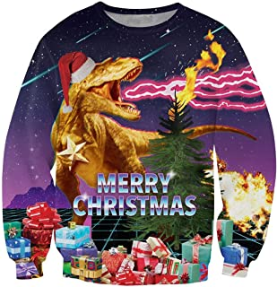 Unisex Funny Ugly Christmas Sweater Novelty Graphic Long Sleeve Pullover Sweatshirt for Party Celebration