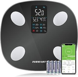 Kroppsfettvåg, våg INSMART personvåg digital med APP, Bluetooth-våg för kroppsfett, BMI, vikt, pulsslag, muskelmassa, vatt...