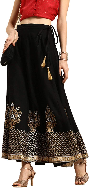 Manas Crafts Viscose Rayon Women Maxi Skirt Black and Golden Flared
