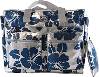Aqua di Mare, Strandtasche aus Metall, quadratisch, mit Damen-Aufdruck, Silber