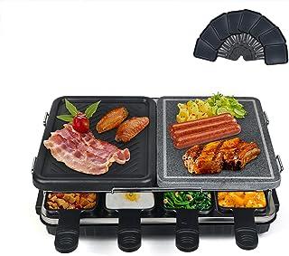 Raclette Grill, Appareil à Raclette avec Pierre Naturelle et Plaque de Gril, Multifonction 2-IN-1 Raclette pour 8 Personne...