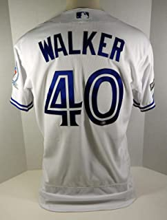2016 Toronto Blue Jays Pete Walker #40 Game Used White Jersey Post Season Patch - Game Used MLB Jerseys