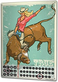 onepicebest 8x12 Perpetual Calendar Western Cowboy Indian Real Cowgirl Tin Metal Magnetic