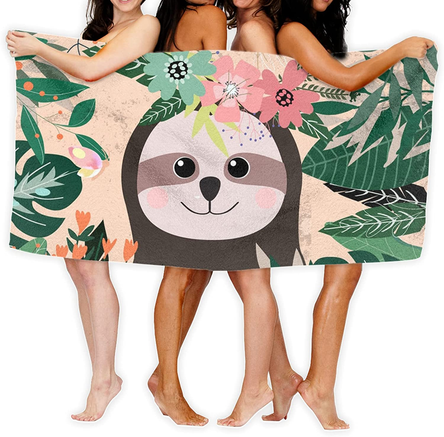 Sloth and Flowers Printed Bath Towel A of Unique Microfi El Paso New color Mall Made is