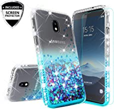 Galaxy J7 Crown Case,J7 Star,J7 2018,J7v 2nd Gen,J7 Refine Glitter Bling Shock Proof Case Cover w/Tempered Glass Cute Bling Diamond Girls Women Compatible for Samsung Galaxy J7 Crown, Teal/Clear
