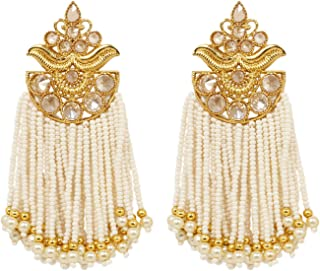 Ratna Indian Bollywood White Crystal Designer 18k Gold Plated Polki Tassel Dangle Drop Earrings Wedding & Party Jewelry