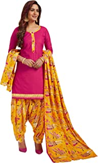 S Salwar Studio Women's Pink & Yellow Cotton Printed Readymade Patiyala Suit Set-SSCELEBRATION-1011