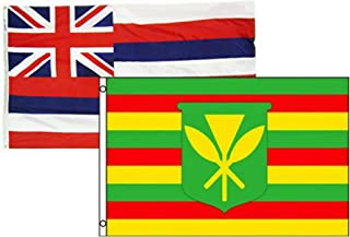 Combo Set Hawaii Flag 3x5 ft Polyester Indoor Outdoor Kanaka Maoli Flags UV Fade Resistant and Vivid Color with Durable Grommets Home Decoration Banner Set of 2 (Multicolor)