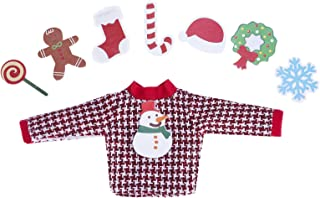 E-TING Santa Couture Clothing for Elf Doll(Sweater Set - 1 Sweater + 8 Attachable Decals)