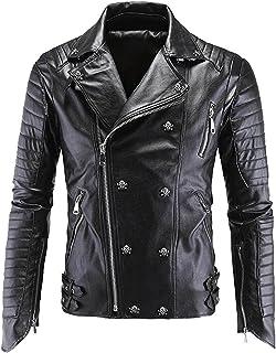 Verescha Mens Skull Patterns Hisper Punk Faux Leather Jackets