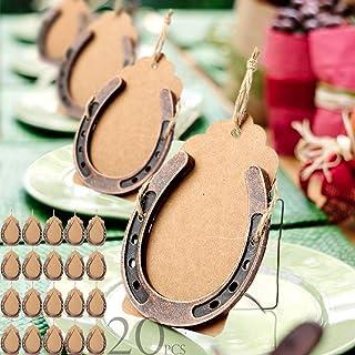 حذاء حصان من AerWo 20 قطعة مع علامة كرافت، زينة لحذاء الحصان المعدني الصغير لتزيين حفلات الزفاف العتيقة الريفية