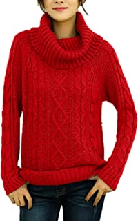 v28 Women`s Pure Cotton Korean Turtle Cowl Neck Ribbed Cable Knit Long Sweater