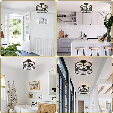 Industrial 3-Light Semi Flush Mount Ceiling Light, Modern Farmhouse Lighting Fixture with Metal Cage, Black Vintage Retro Pen