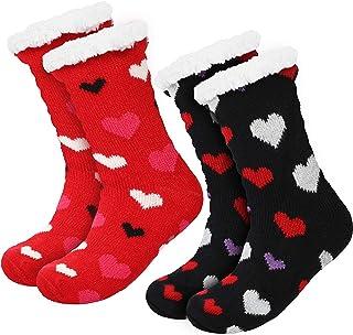 2 Pairs Women's Warm Slipper Socks Christmas Fuzzy Socks Fleece-lined Non Slip Slipper Socks