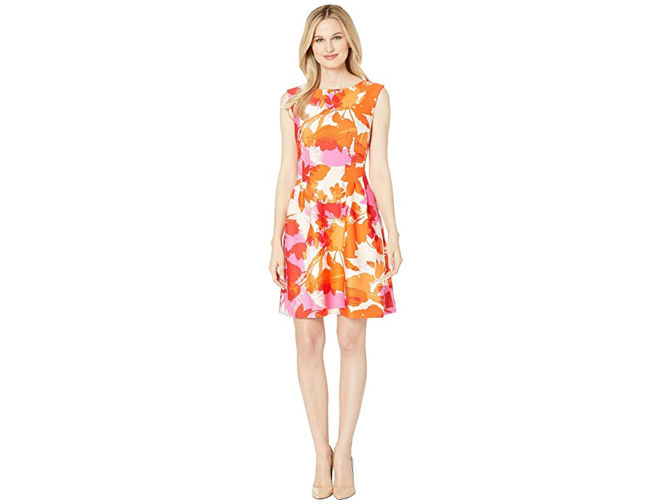 Taylor Cap Sleeve Abstract Print Fit and Flare Dress (Orange/Pink) Women