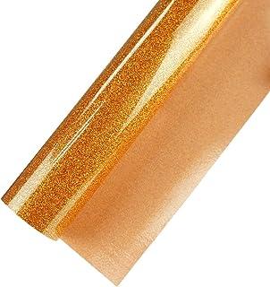 Glitter Heat Transfer Vinyl for T-Shirts HTV Rolls 12 Inch by 5 Feet Roll, Glitter Orange