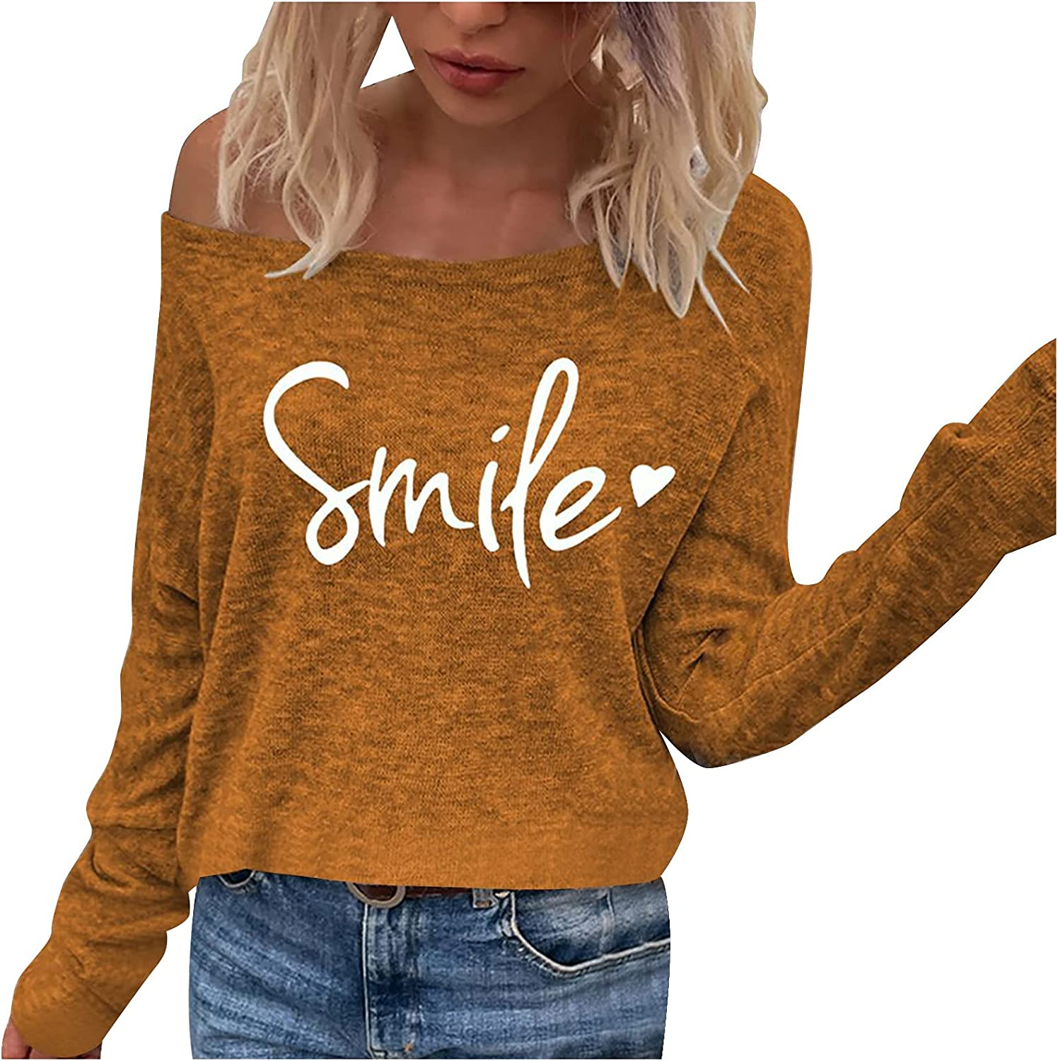 YALFJV Cold Shoulder Tops for Women Long Sleeve Bowl Neck Tunics Graphic Tee Shirt Casual Tunics Pullover Sweatshirt Blouses