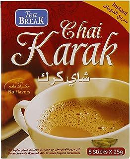 Instant Karak Chai Tea with Creamer, Sugar and cardomom, 8 x 25g sachets