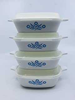 Set of 4 - Vintage Corning Ware Cornflower Blue Individual Casseroles - P-43-B 2 3/4 Cup Petites