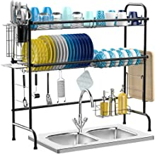 iSPECLE Over The Sink Dish Drying Rack, 2-Tier Premium 201 Stainless Steel Large Dish Rack with Utensil Holder Hooks Stable Bend Foot for Kitchen Countertop Space Saver Non-Slip Black