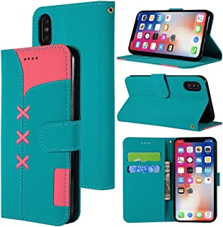 Mobile Case For iPhone X Fabric Stitching Embroidery Horizontal Flip Leather Case With Holder & Card Slots & Wallet (Color : Light blue)