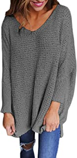 StyleDome Sweater Women Long Sleeve Blouse V-Neck Pullover Oversized Baggy Crochet Knitted Jumper