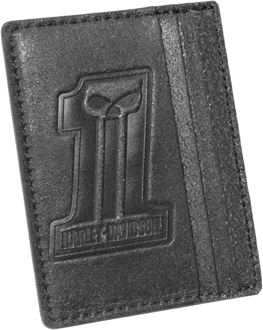 Harley-Davidson Mens #1 Skull Logo Front Pocket Black Leather Wallet
