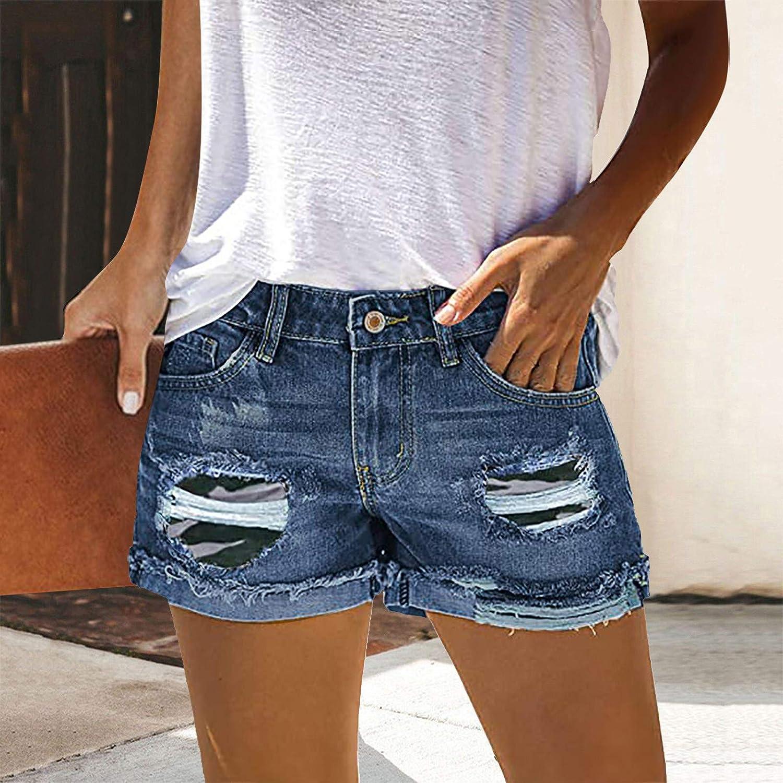 XLLX Women's Denim Shorts High Waisted Frayed Raw Hem Ripped Short Jeans