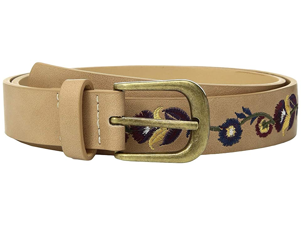 Lodis Accessories Floral Embroidered Belt (Tan) Women