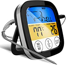 Digital Touchscreen Food Thermometer for Meat Poultry Fish Cooking in Frying Pan Smoker Oven BBQ Grill with Sensitive Color LCD Display | All Temperature and Timer Modes | Best Taste Results (Silver) – 153