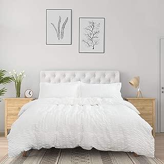 Bedsure White Duvet Cover Queen Size (90 x 90 inches) - Seersucker Stripe - 3 Pieces (1 Duvet Cover + 2 Pillow Shams), Ultra Soft Microfiber - Duvet Covers Set with Zipper Closure, Corner Ties
