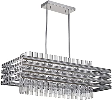 "TZOE Dining Room Chandelier,Modern Rectangle Pendant Light,Crystal Chandelier,L29.1"" x W11.4"" x H48.5"",6 Light, Adjustable He"