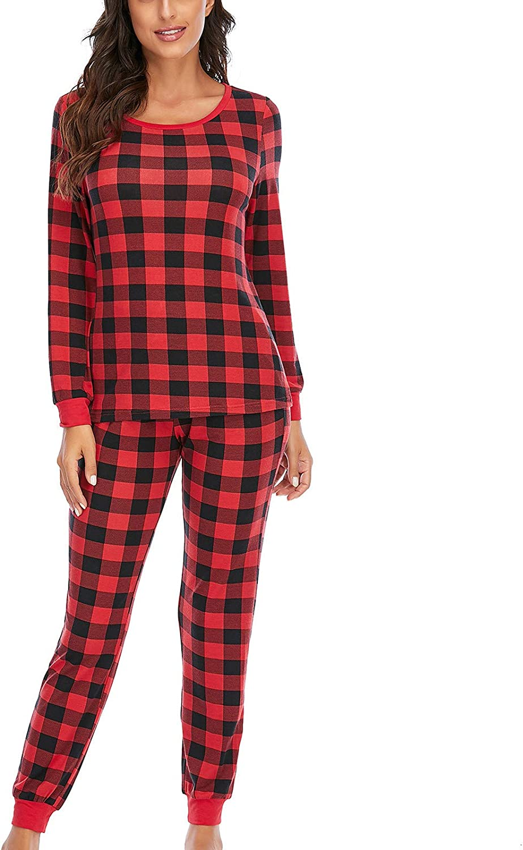Pajamas Women's Long Sleeve Pajama Set Plaid 2 Piece Pajamas Tops with Sleep Pants Loungewear Sleepwear Gifts for Women