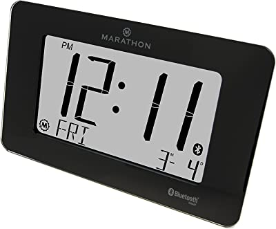 Marathon cl800004 Bluetooth panorámica reloj sistema – negro cristal – incluye pilas