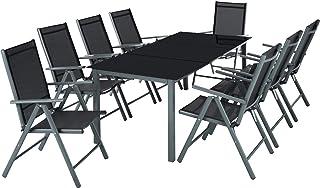 TecTake Aluminium 8+1 Salon de Jardin Ensemble sièges Meubles Chaise Table en Verre - diverses Couleurs au Choix - (Gris f...