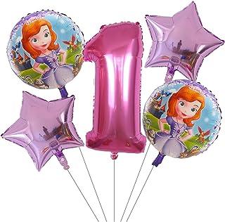 Djujiabh Globos 5 unids Princesa Sofia niña cumpleaños de cumpleaños Decoración de Fiesta de Foil Helio Balloons Latex Air Globos Niños Juguetes Inflables Juguetes (Color : 1)