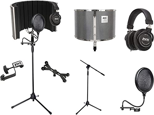 LyxPro VRI 20 Portable Acoustic Isolation Instrument Shield, Sound Absorbing Panel with Tripod Microphone Stand, Universal Smartphone Tablet Holder, Studio Monitor Professional Headphones & Pop Filter
