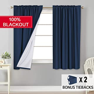 Flamingo P 100% Light Blocking Drapes Water Repellent Curtains with White Backing for Bedroom 63 inch Long Rod Pocket Window Treatment 2 Panels, Navy, 2 Bonus Tie-Backs