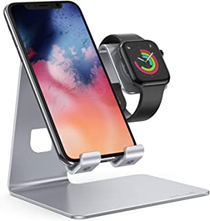 Stand for Apple Watch Phone Holder 2 in 1 : Lamicall Desktop Stand Holder Charging Station Dock Compatible with Apple Watch Series 4/3/2/1,and Phone Xs/X Max/XR/X/8/8Plus/7/7 Plus /6S /6S Plus(Silver)