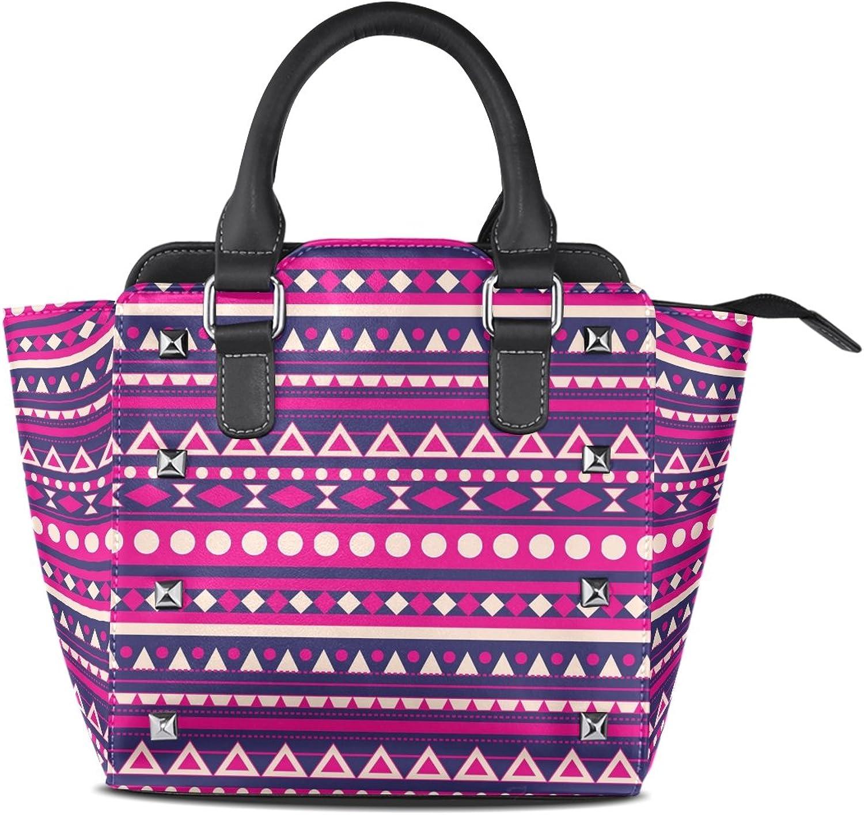 My Little Nest Women's Top Handle Satchel Handbag Boho Lines Dots Geometric Shapes Ladies PU Leather Shoulder Bag Crossbody Bag