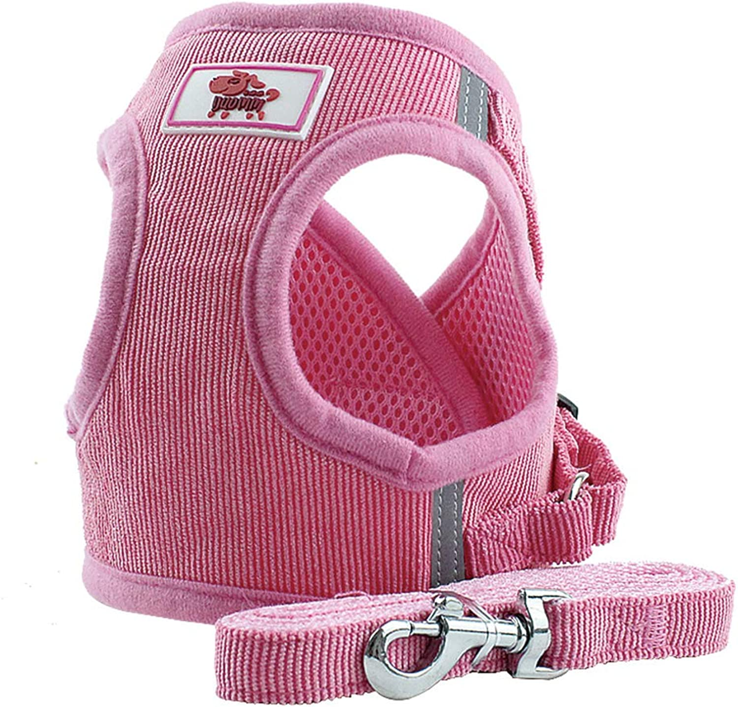 BBDOGO Puppy Vest Harness Breathable Corduroy Straps Pet Walking Harness Small Medium Dogs CW058 (S, Pink)