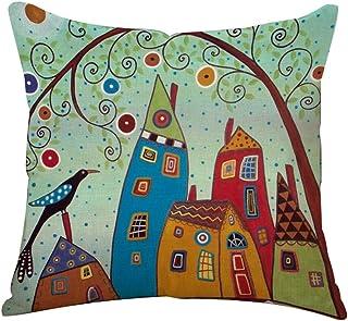 BIGBOBA Funda de cojín de lino con diseño de árbol de la vida, para sofá, cama, decoración del hogar, plantas, flores, 45 x 45 cm