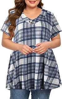 MONNURO Womens Plus Size Short Sleeve V Neck Button Basic Tunic Tops Summer Swing Shirts for Leggings