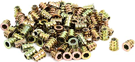 uxcell a16103100ux0953 M4x9.5 mm Interface Hex Socket Threaded Insert Nuts for Wood Furniture Pack of 100